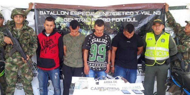 Capturados cuatro integrantes de una banda dedicada a extorsionar y hurtar a ganaderos en el sur del Cesar